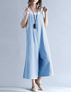 tanie Kombinezony damskie-Damskie Wyjściowe Bawełna Kombinezon - Solidne kolory Kwadratowy dekolt Spodnie szerokie nogawki