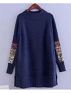 baratos Suéteres de Mulher-Mulheres Manga Longa Algodão Pulôver - Sólido Algodão
