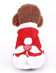 billiga Hundkläder-Hund / Katt Kappor / Tröja / Smoking Hundkläder Enkel Röd Polyester / Bomull Blandning Kostym För husdjur Dam Nyår