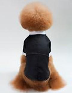 billiga Hundkläder-Hund / Katt Smoking Hundkläder Enfärgad Svart Cotton Kostym För husdjur Unisex Fest / afton / Bröllop