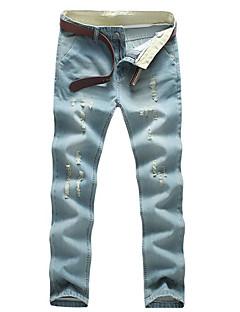 billige Herrebukser og -shorts-Herre Bomull Jeans Bukser - Ensfarget Blå