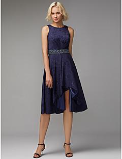 billiga Balklänningar-A-linje Prydd med juveler Asymmetrisk Jacquard Cocktailfest Klänning med Veckad av TS Couture®