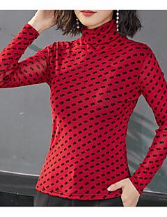 billige T-shirt-Rullekrave Tynd Dame - Farveblok I-byen-tøj T-shirt