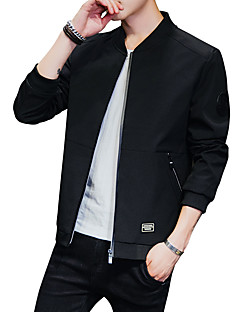 cheap Men's Jackets & Coats-Men's Daily / Sports Active / Street chic Fall / Winter Plus Size Regular Jacket, Solid Colored Collarless Long Sleeve Polyester Print Blue / Black / Gray XXL / XXXL / 4XL