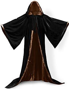 billige Halloweenkostymer-Alv Pastor Jakke Cosplay Kostumer Heksekost Halloween Utstyr Maskerade Herre Unisex Voksen Voksne Cosplay Lolita Kostymer i middelalderstil Jul Halloween Karneval Festival / høytid Drakter Grønn