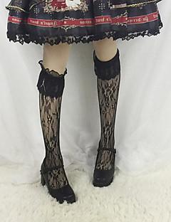 billiga Lolitamode-Strumpor / Strumpbyxor Stilig Vintage Dam Vit / Svart lolita tillbehör Enfärgad Spets Strumpor Spets Halloweenkostymer