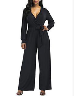 billige Jumpsuits og sparkebukser til damer-kvinners jumpsuit - solid farget bredt ben dypt v