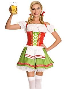 billige Halloweenkostymer-Stuepike Kostumer Oktoberfest Kjoler Cosplay Kostumer Party-kostyme Maskerade Kostume Dame Voksen Videregående skole Stuepike Uniform Halloween Jul Halloween Karneval Festival / høytid