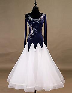 tanie Stroje balowe-Taniec balowy Sukienki Damskie Spektakl Spandeks / Organza Kryształy / kryształy górskie Długi rękaw Natutalne Sukienka