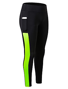 billiga Träning-, jogging- och yogakläder-Dam Ficka Tights för jogging - Grön, Blå, Grå sporter Ensfärgat Cykling Tights / Leggings Löpning, Fitness, Träna Sportkläder Andningsfunktion, Fuktabsorberande, Snabb tork Elastisk Skinny / Vinter