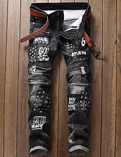 billige Herrebukser og -shorts-menns bomulls slanke jeansbukser - geometriske