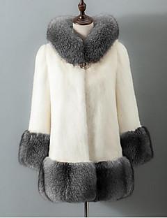 billiga Dampälsar och läder-Dam Dagligen Grundläggande Höst vinter Plusstorlekar Normal Fur Coat, Enfärgad Huva Långärmad Fuskpäls Vit / Svart XXXXL / XXXXXL / XXXXXXL
