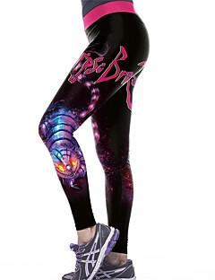 billiga Träning-, jogging- och yogakläder-Dam Lappverk Yoga byxor - Svart / Rose Röd sporter Halloween Elastan Leggings Dans, Löpning, Fitness Sportkläder Anatomisk design, Andningsfunktion, Mjuk Elastisk Smal