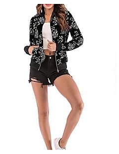 Χαμηλού Κόστους Bomber Jackets-Γυναικεία Εξόδου Βασικό Κοντό Σακάκι, Άνθινο / Βοτανικό Όρθιος Γιακάς Μακρυμάνικο Πολυεστέρας Λευκό / Μαύρο / Ρουμπίνι L / XL / XXL