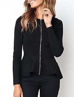 tanie Swetry damskie-Damskie Codzienny Solidne kolory Długi rękaw Szczupła Regularny Sweter rozpinany, Okrągły dekolt Czarny / Czerwony M / L / XL