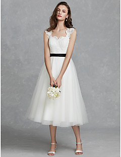 billiga Brudklänningar-A-linje Scoop Neck Telång Spets / Tyll Bröllopsklänningar tillverkade med Spets / Skärp / Band av LAN TING BRIDE® / Vacker i svart