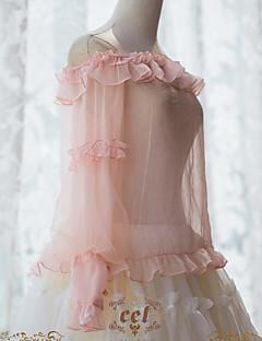 billiga Lolitamode-Söt Lolita Genomskinlig Elegant Dam Blus / Skjorta Cosplay Rosa Biskop Långärmad Halloweenkostymer