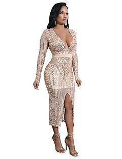 baratos Vestidos de Festa-Mulheres Festa / Bandagem Sensual Skinny Tubinho Vestido - Paetês, Sólido Decote em V Profundo Médio / Sexy