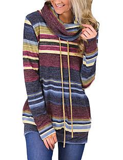 tanie Damskie bluzy z kapturem-Damskie Aktywny / Podstawowy Bawełna Szczupła Spodnie - Geometric Shape / Kolorowy blok Niebieski / Golf / Wiosna / Jesień / Wyjściowe
