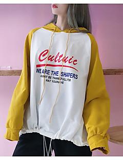 baratos Moletons com Capuz e Sem Capuz Femininos-Mulheres Moda de Rua Moletom Estampa Colorida / Letra