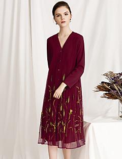 billige Kjoler til nyttårsaften-Dame Vintage / Chinoiserie Swing Kjole - Blomstret, Paljetter / Broderi Midi