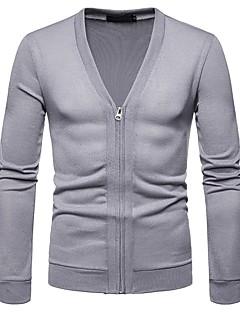 tanie Męskie swetry i swetry rozpinane-męski sweter z długimi rękawami - jednolity kolorowy głęboki v