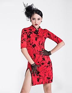 tanie Stroje do tańca latino-Taniec latynoamerykański Sukienki Damskie Spektakl Lodowy jedwab Wzór / Nadruk Rękaw 1/2 Sukienka