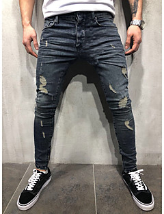 billige Herrebukser og -shorts-Herre Gatemote / Punk & Gotisk Bomull Jeans Bukser - Ensfarget Hull Blå / Klubb