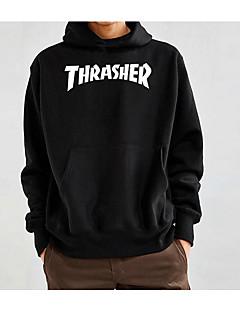 baratos Abrigos e Moletons Masculinos-jaqueta com capuz solto de algodão de manga comprida para homem - carta / com capuz de cor sólida