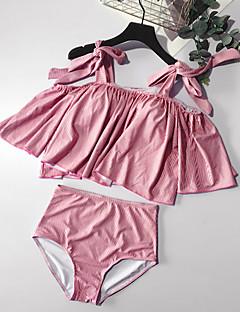 billige Bikinier og damemote-Dame Grunnleggende Med stropper Rosa forms Cheeky Høy Midje Bikini Badetøy - Ensfarget Åpen rygg / Sløyfe / Drapering M L XL / Sexy