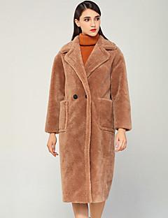 Χαμηλού Κόστους Γυναικεία Πανωφόρια-Γυναικεία Γούνινο παλτό Βίντατζ / Βασικό - Μονόχρωμο / Συνδυασμός Χρωμάτων / Houndstooth