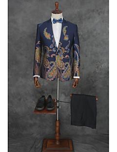 abordables Smokings & Costumes-Avec motifs Coupe Sur-Mesure Coton / Polyester Costume - Cranté Fin Droit 1 bouton