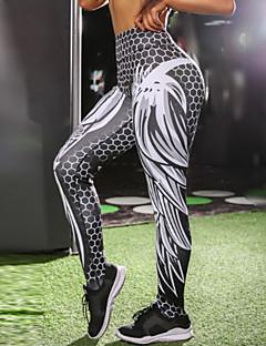 baratos Leggings para Mulheres-Mulheres Diário Esportivo Legging - Geométrica / Estampa Colorida Cintura Média