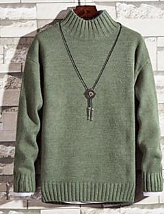 baratos Suéteres & Cardigans Masculinos-homens saindo de manga comprida slim pulôver - gola de cor sólida