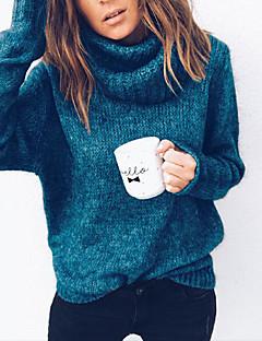 tanie Swetry damskie-Damskie Codzienny Podstawowy Solidne kolory Długi rękaw Puszysta Regularny Pulower, Golf Jesień / Zima Szary / Fuksja / Khaki XXXL / 4XL / XXXXXL