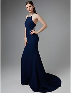 billiga Aftonklänningar-Trumpet / sjöjungfru Halterneck Svepsläp Jersey Vacker rygg Formell kväll Klänning med Bård av TS Couture®