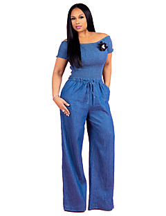 tanie Kombinezony damskie-Damskie Codzienny / Wyjściowe Moda miejska Z odsłoniętymi ramionami Niebieski Spodnie szerokie nogawki Kombinezon, Solidne kolory M L XL Wysoka talia Krótki rękaw Jesień