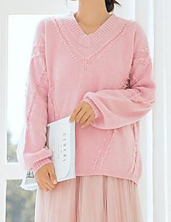 baratos Suéteres de Mulher-pullover de algodão de manga comprida para mulher - colorido sólido