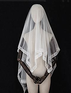 billiga Brudslöjor-Två lager Europeisk Stil / Vintage-inspirerad Brudslöjor Armbåge Slöjor med Kant / Enfärgad / Trim Tyll