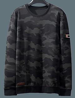 billige Hættetrøjer og sweatshirts til herrer-mænds langærmet sweatshirt - farveblok / stribet rundt hals