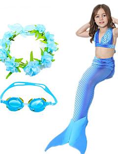 billige Barnekostymer-The Little Mermaid Aqua Princess Badetøy Jente Barne Havfrue og Trompet Kjole Slip Jul Barnas Dag Festival / høytid Drakter Grønn / Rosa / Fuksia Paljetter