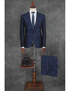 abordables Smokings & Costumes-Avec motifs Coupe Sur-Mesure Polyester Costume - Cranté Droit 1 bouton