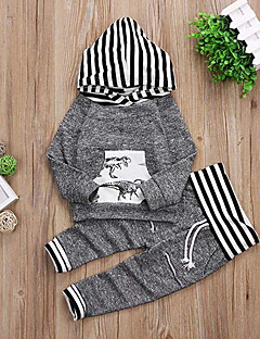 cheap Ships In 24 Hours-Baby Boys' Casual / Active Daily / Holiday Striped / Print Print Long Sleeve Regular Regular Cotton Clothing Set Gray / Toddler