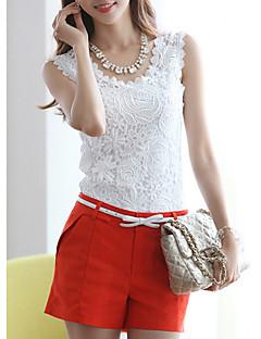 billige Udsalg-kvinners slanke t-skjorte - solid farget rund hals