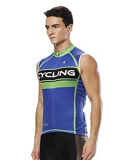 billige Sykkelklær-ILPALADINO Herre Ermeløs Sykkeljersey - Blå Mote Sykkel Jersey, UV-bestandig Komprimering Refleksbånd, Sommer, 100% Polyester