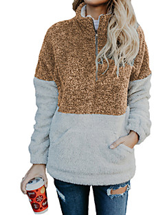 baratos Suéteres de Mulher-Mulheres Básico / Moda de Rua Pulôver - Estampa Colorida