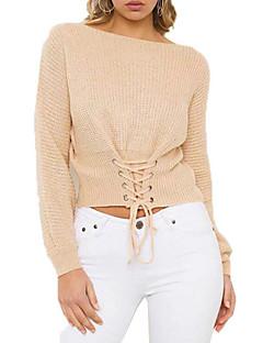 baratos Suéteres de Mulher-Mulheres Diário Sólido Manga Longa Curto Pulôver Amarelo / Verde Tropa / Khaki Tamanho Único