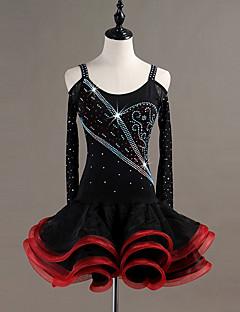 baratos Roupas de Dança Latina-Dança Latina Vestidos Mulheres Espetáculo Elastano / Organza Cristal / Strass Manga Longa Vestido