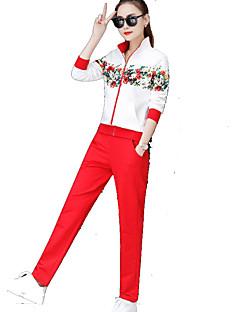 billiga Träning-, jogging- och yogakläder-Dam Harem T-shirt och byxor till jogging - Röd, Blå, Rosa sporter Blommig / Botanisk Elastan Byxa / Överdelar Fitness, Gym, Träna Långärmad Sportkläder Andningsfunktion, Snabb tork Microelastisk
