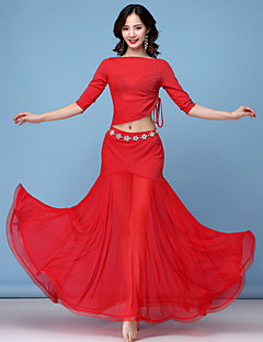 Χαμηλού Κόστους Ρούχα χορού της κοιλιάς-Χορός της κοιλιάς Σύνολα Γυναικεία Εκπαίδευση Νάιλον Διαφορετικά Υφάσματα / Εφαρμοστό / Με χώρισμα Μισό μανίκι Χαμηλή Μέση Φούστες / Κορυφή